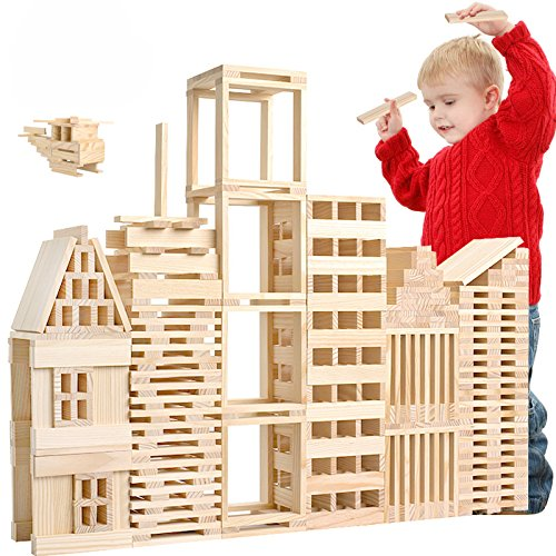 LOOBANI 100 Pcs Kids Toddlers Building Blocks Wooden Toys Set, Suitable for Boys & Girls Above 3 Years Old