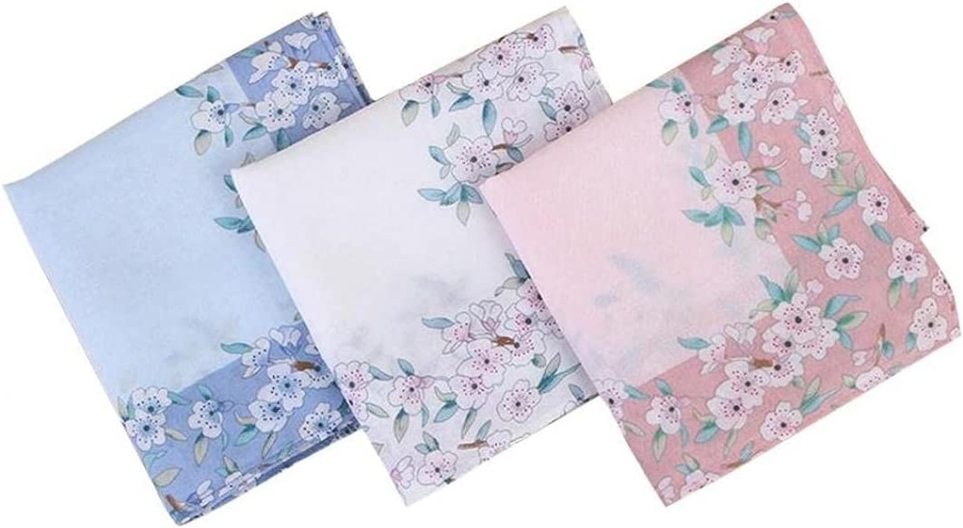 TOSSPER 3pcs Cotton Handkerchiefs Womens Floral Print Hankies for Wedding Party, 4545cm