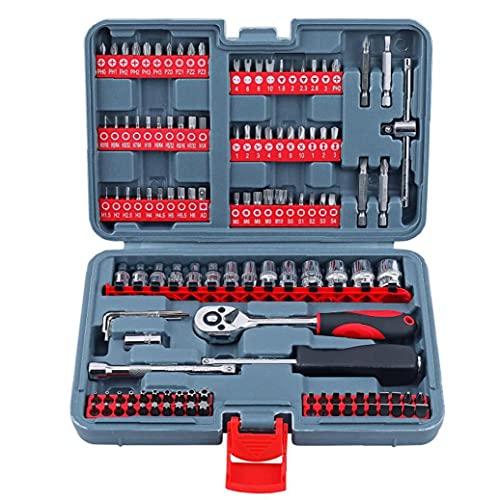 Odoukey-regalo Unità Metric Socket Set sgancio rapido Ratchet Wrench 1/4 Mechanic Tool Set per Auto Riparazioni meccanico 126PCS Red