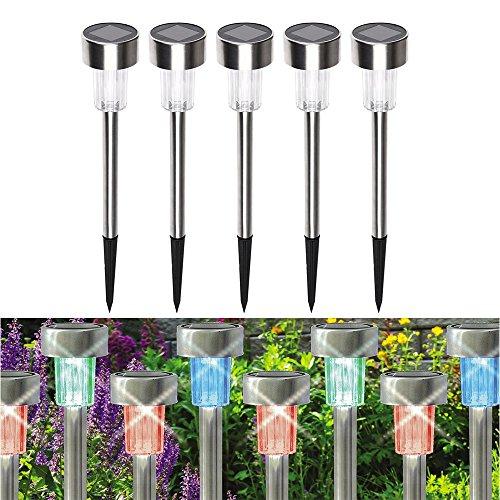 KEEDA 5 x Lumières Solaires de Jardin,Lumières Solaires de Poteau d'acier Inoxydable,Jardin Extérieur LED Imperméable Feuilles de Piste pour Paysage en Plein Air (Lumières Blanches)