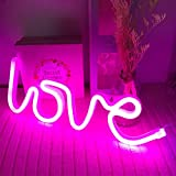 ENUOLI - Letrero de neón con luz de neón, color rosa neón, señales de amor LED para regalo de San Valentín, habitación de niñas, habitación de niños, luz de neón con USB, funciona con pilas