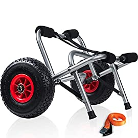 "Kayak cart dolly wheels trolley - kayaking accessories best for beach tires transport canoe fishing jon boat carrier… 1 dimensions: 27""l x 14""w x 18. 5""h inches - securing strap 144""l x 1""w inches. Capacity: our kayak dolly can carry up to 165 lbs. And includes a cam buckle tie down strap to secure your kayak, canoe, or another small boat once it's been placed on top of the trolley. The dolly also features 10"" all-terrain airless solid rubber tires for easy rolling along with a double leg kickstand for extra stability and easy loading. Durable: constructed with corrosion-resistant aluminum and features foam cushion on the bars to protect the kayak or vehicle from bumps, scratches, and other abrasions."