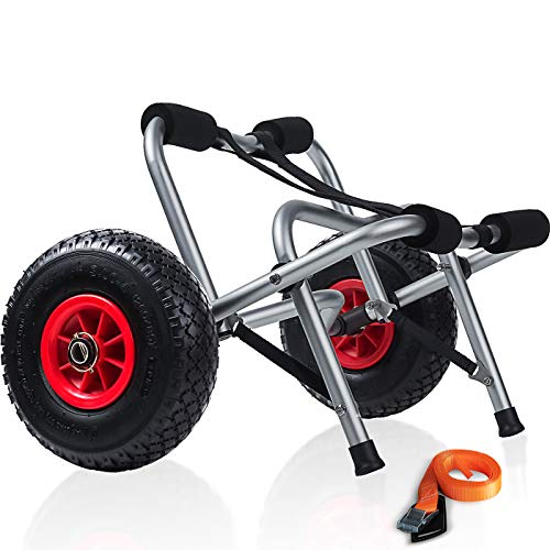 Kayak Cart Dolly Wheels Trolley - Kayaking Accessories Best for Beach Tires...