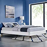 Modway MOD-6268-WHI Harlow Twin Performance Velvet Platform Bed Frame, White