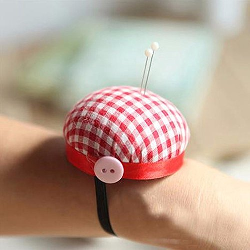 Red Plaid Cross Stitch Needle Sewing Pin Cushion Button Wrist Strap Holder Home Tailors Safety Craft Tool