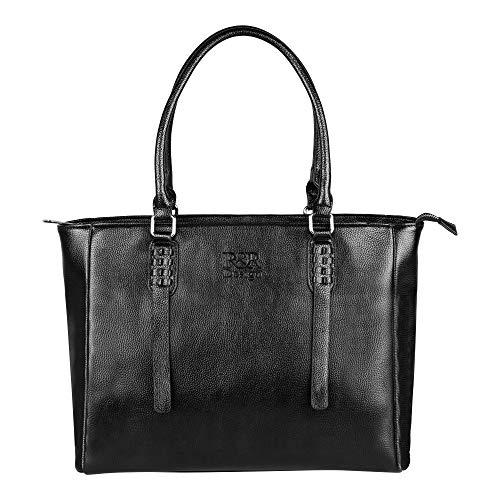 R&R Design Leder Handtasche fuer Damen - geräumige Designer-Handtasche für den Alltag - 5 integrierte Taschen - 42 x 30,5 x 10x5 - ideale Schultertasche mit angenehmen Bügeln(Schwarz)