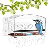 MIXXIDEA Clear Window Bird Feeder with Refillable Acrylic Sliding Seed Tray Holder with Drain Holes, Super Strong Suction Cups , Transparent Viewing Outside Hanging Kit for Wild Birds (1 Pack)