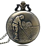 Reloj de Bolsillo Bronce Golfing Tema Reloj De Bolsillo con Collar Cadena Mejor Regalo A Los Hombres Golfistas