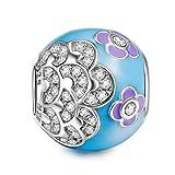 NINAQUEEN Charm Encaja con Pandora Flor Azul Regalos Mujer Originales Plata de Ley 925 Esmalte Abalorios para Niñas Madre Hija Esposa de Cumpleaños