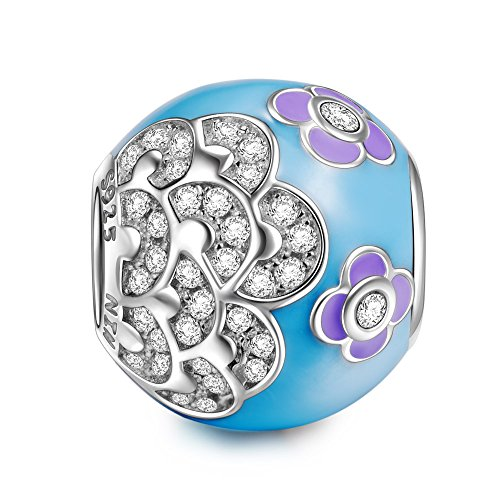 NINAQUEEN Charm fit Pandora Charms Flower Muticolor Women's Jewellery Best Gifts with Jewellery Box 925 Sterling Silver Antibacterial Properties