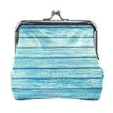 Monedero de piel con estampado de madera azul vintage