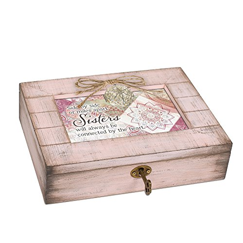 Cottage Garden Sisters Connected Heart Blush Pink Distressed Locket Music Box Plays You Light Up My Life