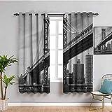 Nueva York - Cortinas para oscurecer habitación de Nueva York, diseño vintage de East Hudson River Image USA Travel Top Place City Photo Art Print Mantener un buen sueño gris W108 x L84 pulgadas