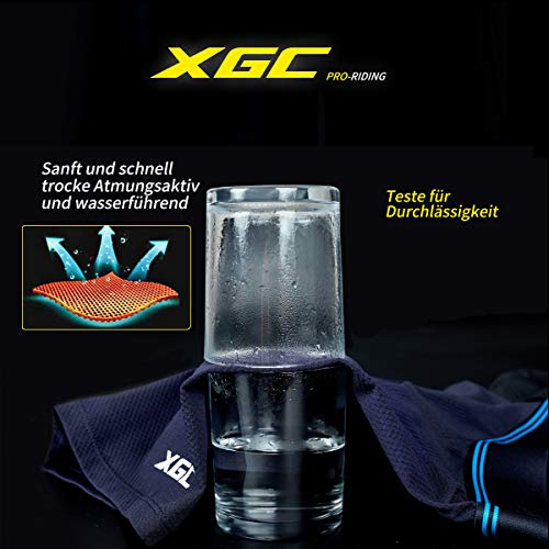 XGC Damen Radunterhose Radsportshorts Fahrradhosen mit elastische atmungsaktive 4D Gel Sitzpolster mit Einer hohen Dichte (L, Blue) - 4