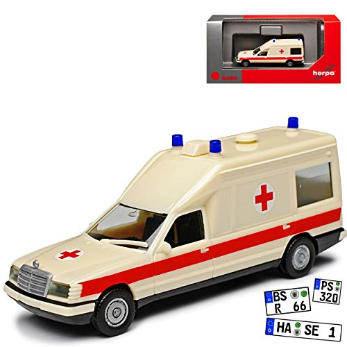 Mercedes-Benz Miesen E-Klasse W124 KTW Transporter Krankenwagen Rettungswagen 1977-1995 H0 1/87 Herpa Modell Auto