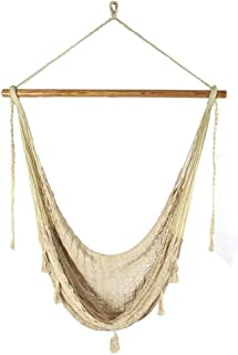 Sunnydaze Extra Large Mayan Hammock Chair, Indoor/Outdoor Use, Lightweight Cotton/Nylon Rope, Max Weight: 330 Pounds, Natural Color