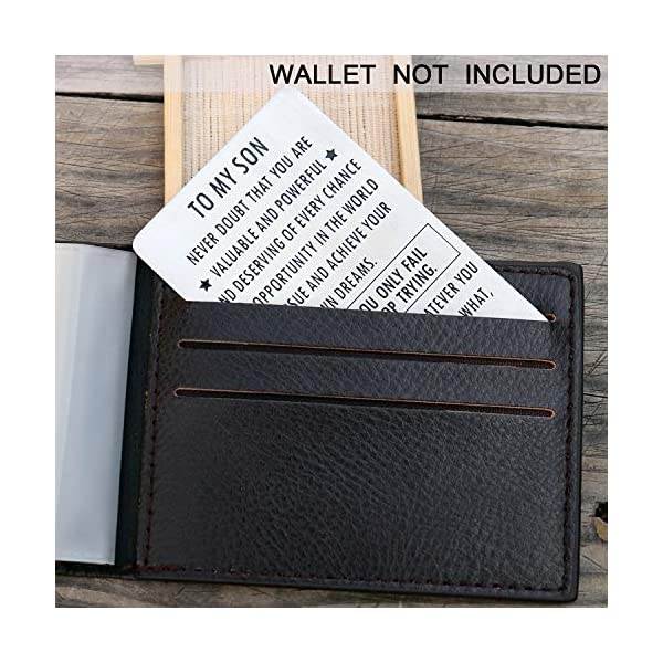 Inspirational Engraved Wallet Inserts to My Son from Mom, Gifts for Son with Motivational Quote, Wallet Insert Cards for Graduation Birthday Gift Ideas