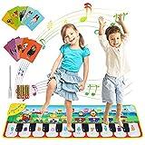joylink Alfombra Piano, Alfombra de Baile Juego Alfombra Musical con 8 Sonidos Animales y 10 Canciones, Juguete Educativo Regalo para Bebé Niños y Niñas de 1 2 3 Años, 110 x 36 cm (Verde)