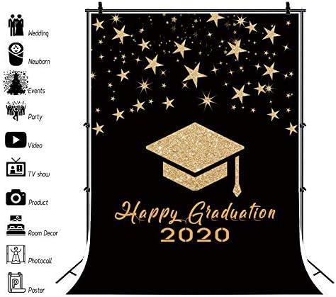 Haoyiyi 8x10ft Happy Graduation 2020 Backdrop Black and Gold Bachelor Cap Ribbon Grad Starry Sky Background Photography Photo Newborn Student Prom Photoshoot Supplies Photobooth Decor