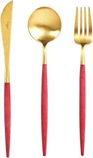 Cutipol GOA Red / gold Series Home Dinner Flatware Cutlery Set of 3 Pcs, Spoon, Fork, Knife, Professional Cutlery Brand