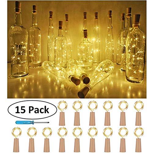15PCS Bottle Lights Cork Shape for 1M 10 LED Wine Bottle String Party Romantic Kitchen Dining Bar Accessories