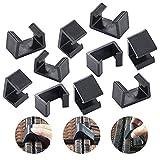 ZYZY 10 piezas de muebles de mimbre para patio al aire libre, para sofá, silla de ratán, sujetadores de sofá, conector seccional (L, negro)