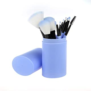 STELLAIRE CHERN 12pcs Synthetic Makeup Brushes Travel Set With Holder Foundation Powder Contour Blush Eye Cosmetic Brush Sets In Case - Blue