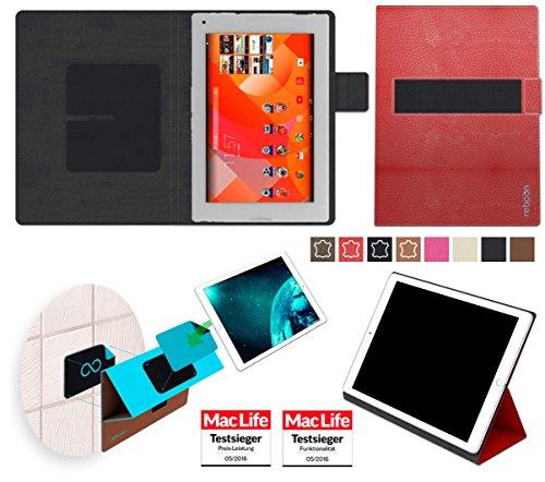 Hülle für Medion Lifetab P8912 Tasche Cover Hülle Bumper | in Rot Leder | Testsieger