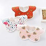 DNAEGH Baberos,3pcs / Lot Bebé recién Nacido, Baberos de alimentación de algodón Transpirables Ajustables para niños y niñas.Corazón de 0-3 años Vendido