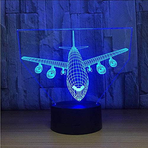 YKLWORLD Airplane Night Light 3D Illusion Lamp 7 Color Changing Touch Control with USB Cable LED Table Desk Decor Lamps Christmas Birthday Gifts for Kids Boys Pilot Plane Lover