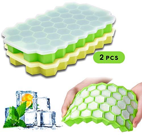 Bandejas de hielo de silicona de grado alimenticio, paquete de 2 moldes para hielo con lib reutilizable esfera, para hacer whisky