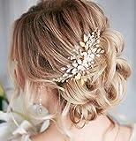 Deniferymakeup-Peigne à cheveux décoratif orné de strass, fleurs, feuilles, ton rose, pour mariée.