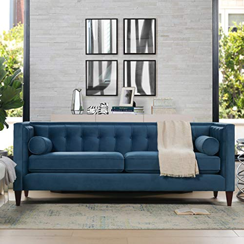 Jennifer Taylor Home, Sofa, Satin Teal, Velvet, Hand Tufted,...