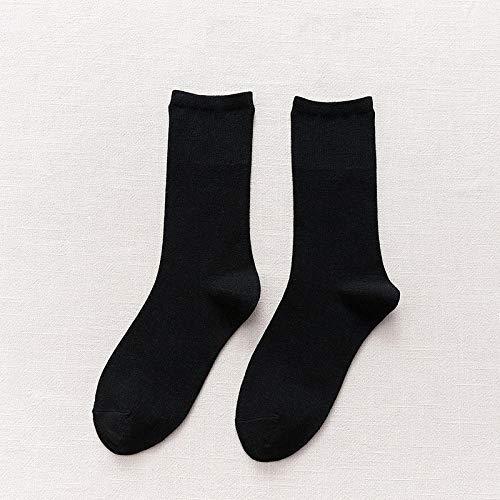 XINDUO Calcetines Invierno Mujer Calcetines Térmicos Coloridos,Calcetines de algodón de Tubo Fino de Moda 5 Piezas-Negro,Calcetines de algodón para Mujer