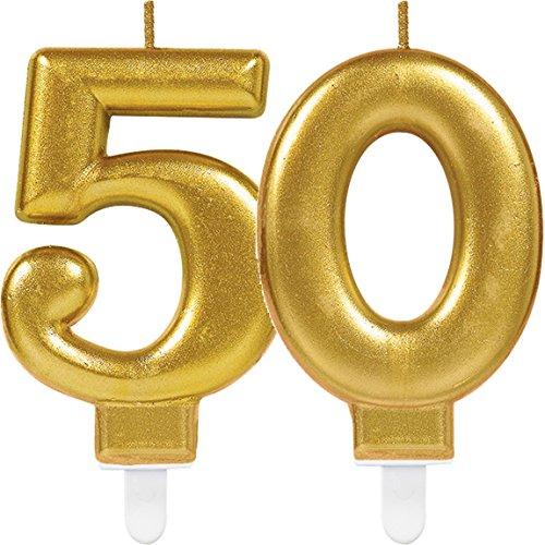 Amscan/Carpeta 2X Zahlenkerzen * Zahl 50 * in Gold // 11cm x 9cm groß // Deko Goldene Hochzeit Jubiläum Geburtstagskerze Kerze Geburtstag