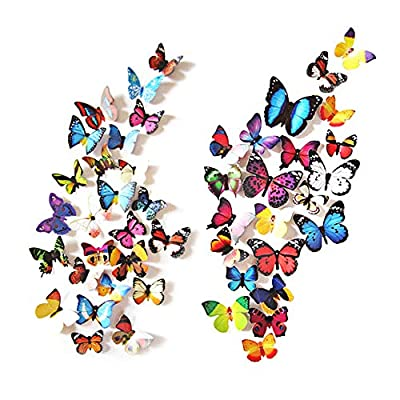 eoorau 80PCS Butterfly Wall Decals - 3D Butterflies Decor for Wall Removable Mural Stickers Home Decoration Kids Room Bedroom Decor …