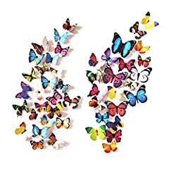 ★Beautiful butterfly stickers set: 80 pieces PVC butterflies, 4 styles(style A-24pcs, style B-19pcs, style C-19pcs, style D-18pcs). Include tapes. You can create more interesting shapes with different styles. ★Butterfly Size: 80pcs different styles o...