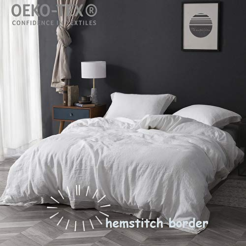 Simple&Opulence 100% Linen 3Pcs Duvet Cover Set Frame Wire Drawing (Queen, Grey Frame)