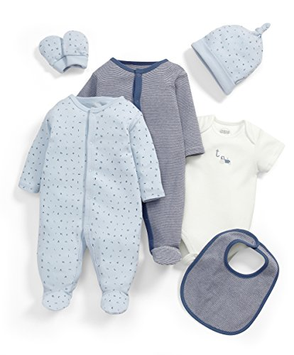 Mamas & Papas Baby-Jungen Bekleidungsset 6 Piece Abc Layette Set, Blau, 0-3 Monate