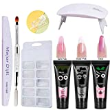 gel nails kit,Anself Gel 3 colores de manicura de secado rápido Lámpara de uñas UV Moldes de...