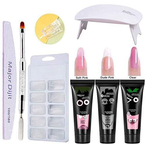 gel nails kit,Anself Gel 3 colores de manicura de secado rápido Lámpara de uñas UV Moldes de uñas Kit de extensión de uñas