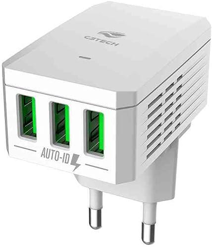 Carregador AC/USB C3 Tech, branco, Universal 3,4A, UC-310WH