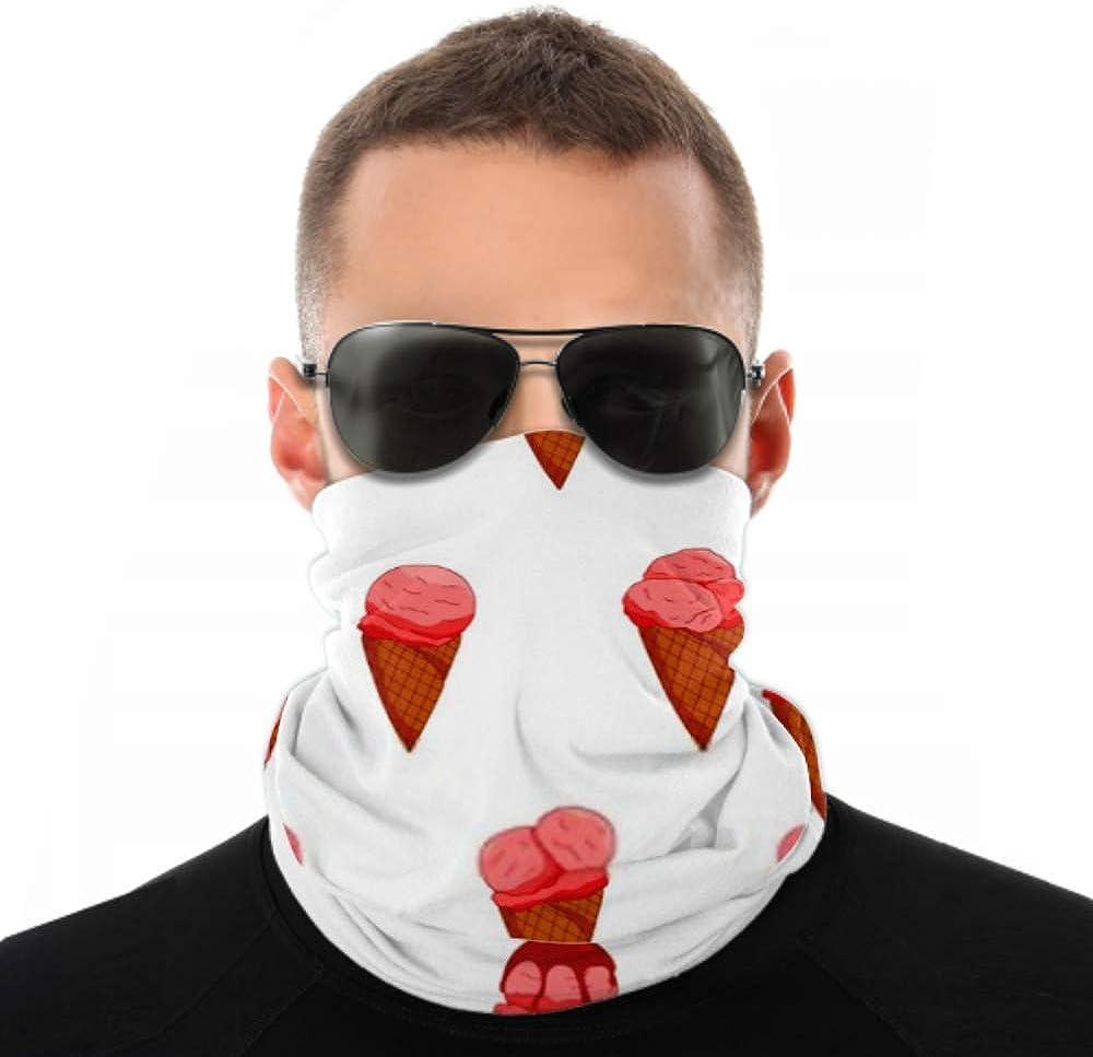 Headbands For Men Women Neck Gaiter, Face Mask, Headband, Scarf Colorfu Pink Starwberryl Ice Cream Pattern Turban Multi Scarf Double Sided Print Scarf Headbands For Women For Sport Outdoor