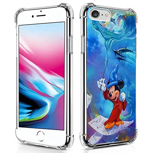 Disney Collection - Custodia per iPhone 7/8/SE2, motivo: Topolino Fantasia, antiurto, antigraffio, protezione in policarbonato rigido e TPU flessibile trasparente