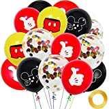 Paquete de 45 globos de Mickey Mouse, globos de látex de 12 pulgadas, rojo, negro, amarillo, Mickey Color Confeti Globos Kit para Baby Bbay Party Baby Shower Mickey Mouse Tema Party Supplies