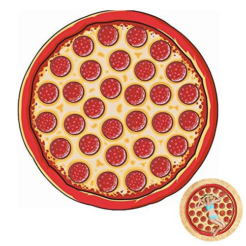 SXON Manta Redonda Toalla de Playa Alfombra de Fruta Pizza para Playa Piscina Lago Baño (Pizza)