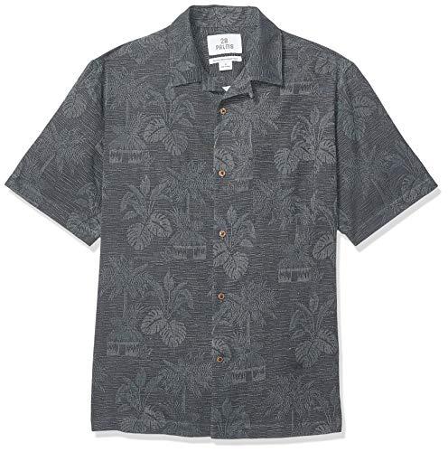 Amazon-Marke - 28 Palms Herrenhemd mit bequemer Passform, aus 100 % strukturierter Seide, tropische Blätter, Jacquard, Black, US M (EU M)
