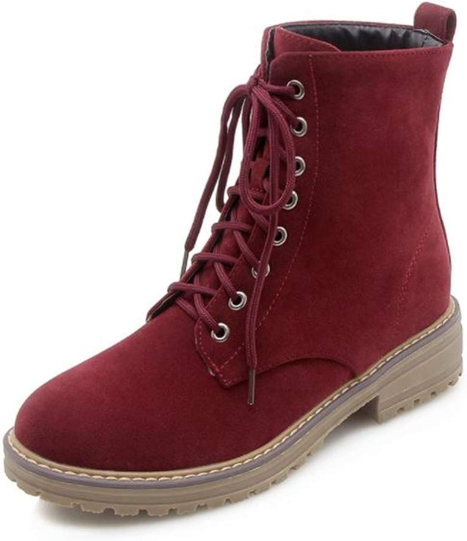 BeautyOriginal Women's Round Toe Lase-up Ankle Boots Combat Booties Fashion Martens Boots
