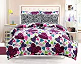 Girls Kids Bedding-Misty Zebra Tween Teen Dream Bed in A Bag. Queen Size Comforter Set, Sheet Set and Plush Zebra Pillow Included-Love, Hearts-Hot Pink, Turquoise Blue, Purple, Black and White