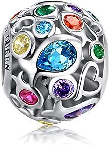 Forever Queen Arco Iris Charm para Pulsera, Plata de ley 925 Abalorios calados Bonitos Abalorios Coloridos con Piedra de Circón Cúbico de Peces, Perfecto para Pulsera y Collar FQ0001
